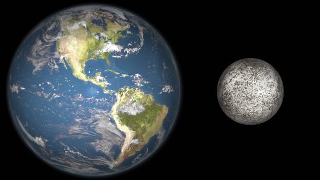 Grafische darstellung der Erde und des Merkurs, der um einiges kleiner ist.