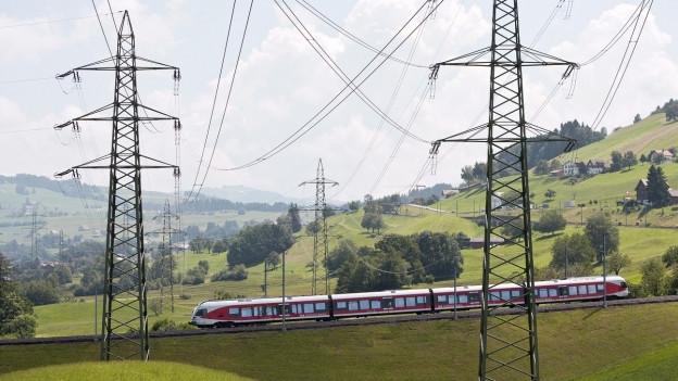 Ein Zug und viele Strommasten sind zu sehen.