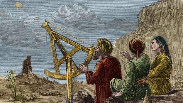 Illustration: Drei Männer sitzten an einem wissenschaftlichen Gerät, mit welchem man die Sterne ausmessen kann.