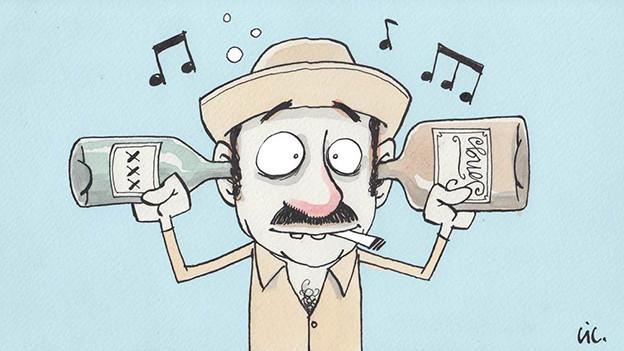 Zeichnung von Musiker mit alkoholischen Getränken.
