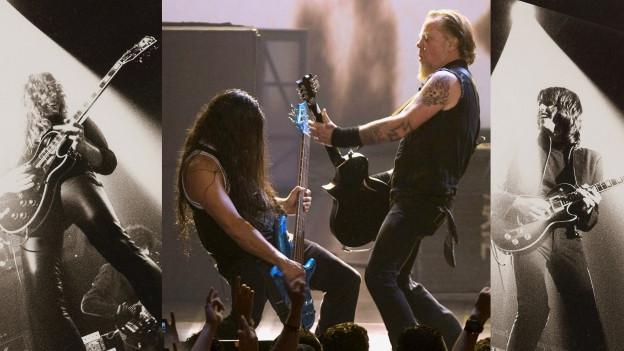 Collage aus Auftrittsfotos von Metallica und Thin Lizzy