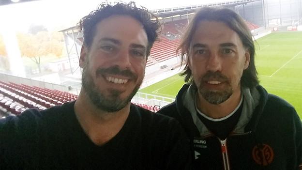 SRF 3 Moderator Tom Gisler und Fussballtrainer Martin Schmidt.