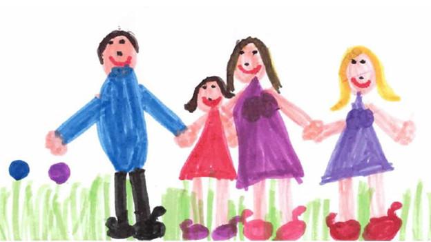 Die Zeichnung eines Kindes, deren Mutter sich geoutet hat.