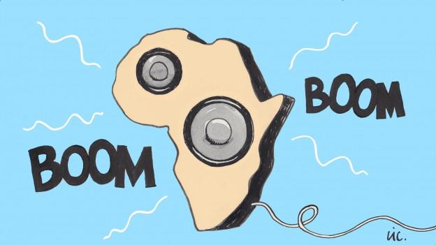 Zeichnung von Afrika als Lautsprecher.