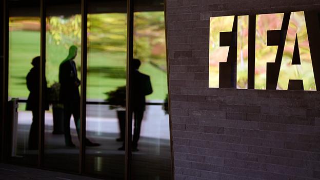 Haupteingang des FIFA-Sitzes in Zürich.