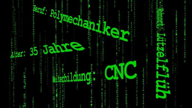 Symbolbild: Digitaler Arbeitsmarkt, Computerschrift in Neongrün mit verschiedenen Jobbezeichnungen.