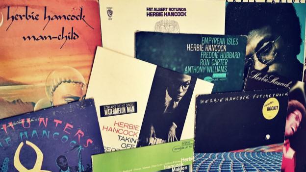 Einige Herbie Hancock-Platten aus DJ Pesas Plattensammlung.