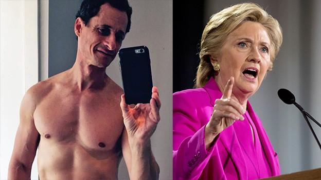 Antony Weiner und Hillary Clinton.