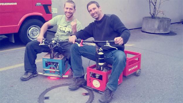 Bierkistenrennfahrer der ersten Stunde: Nicola Brändli und Marko Ristic