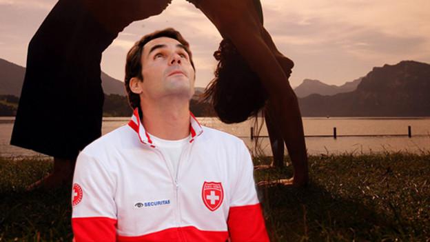 Eine Frau in Yoga-Position (Die Brücke) und Roger Federer