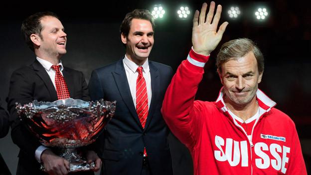 Roger Federer, Severin Lüthi und Heinz Günthardt