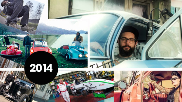Moderator Andi Rohrer im Cadillac (und Bilder verschiedener Menschen und Fahrzeuge, die er besucht hat)