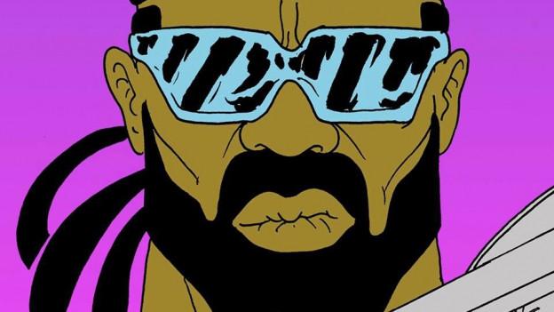 Zeichnung vom Major Lazer (mit Sonnenbrille und Bart)