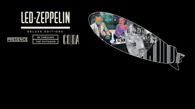 Led Zeppelin-Zeppelin auf schwarzem Hintergrund