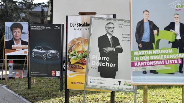 Wahlkampfplakate im Kanton Zürich.