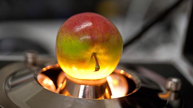 An diesem Apfel wird eine zerstörungsfreie Qualitätsmessung mit Infrarot-Licht durchgeführt.