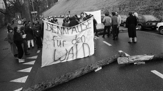Eine Umweltschutzgruppe blockiert am 2. Februar 1985 vor der Sondersession der eidgenoessischen Räte die Lerberstrasse in Bern, um gegen das Waldsterben zu demonstrieren.»