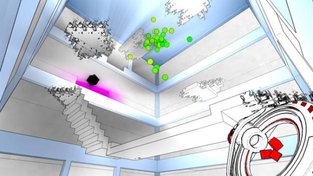 Um komplexere Rätsel zu lösen muss der Spieler mit seinem Werkzeug (unten rechts) den Raum verändern.