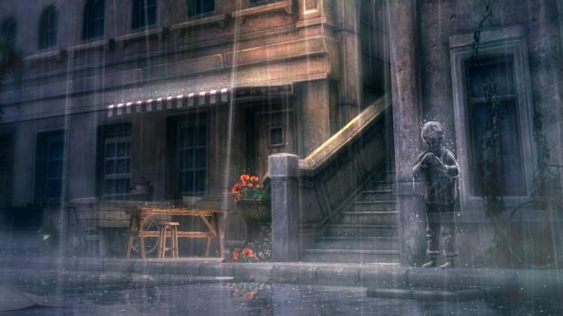 Erst im Regen zeigt sich die geisterhafte Silhouette unserer Spielfigur.