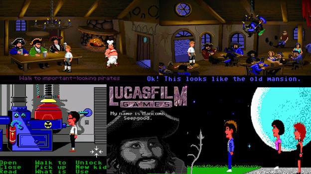 Meileinsteine: Piratengame «Monkey Island» (oben) und «Maniac Mansion» setzten Ende der 80er mit innovativem Bedienkonzept Massstäbe.