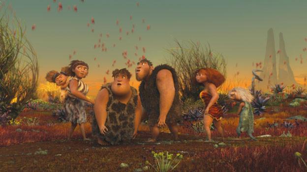 Die Croods (das identisch ausgesprochene Wort «crude» bedeutet barbarisch) und ihre steinzeitliche Welt.