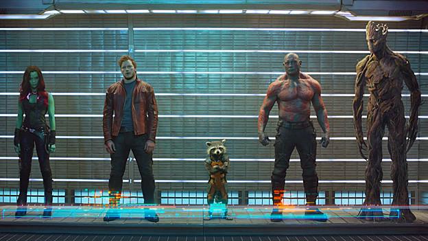Schräge Helden: Gamora (Zoe Saldana), Peter (Chris Pratt), Rocket, Drax (Dave Bautista) und Groot.
