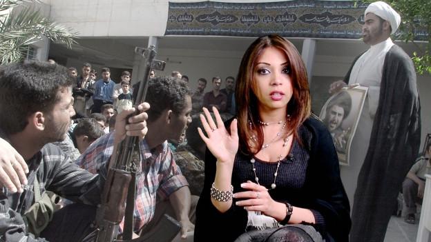 Samirs Halbschwester Souhair Jamal Aldan vor Archivaufnahmen aus dem Irak.