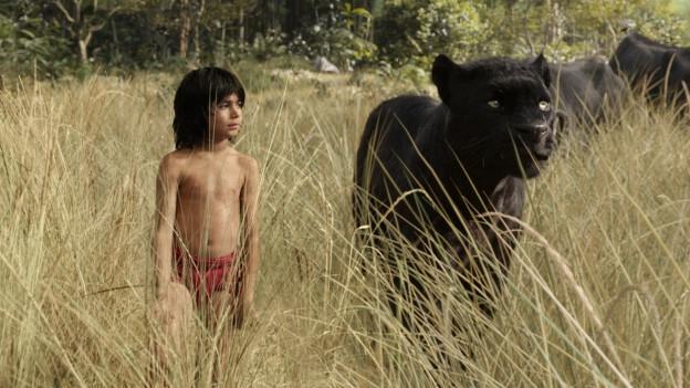 Panther Baghira will Mogli (Neel Sethi) in ein Menschendorf bringen.