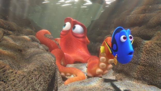 Doktorfisch-Dame Dorie und der Krake Hank wollen aus dem Aquarium abhauen. Bloss wie?