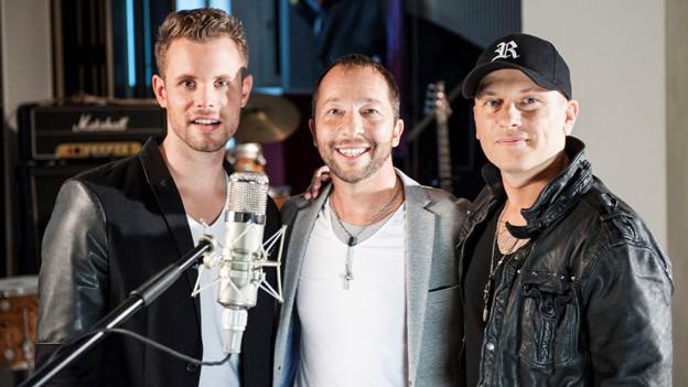 DJ Bobo im Studio mit Manu-L (links) und DJ Remady.