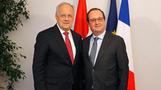 Schneider-Ammann und Hollande in Colmar