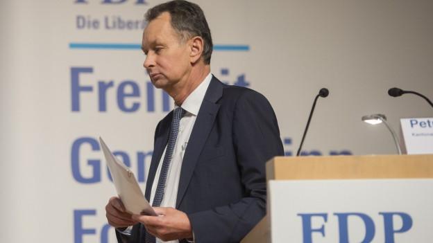 Auf dem Bild ist FDP-Präsident Müller zu sehen