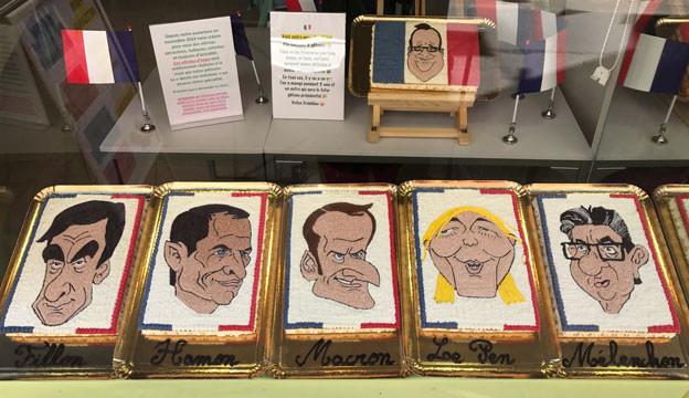 Die Kandidaten der französischen Präsidentschaftswahl in süsser Form - gesehen in einer Konditorei in Fréjus.