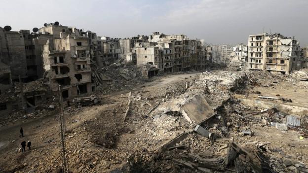 Leben in den Ruinen von Aleppo.