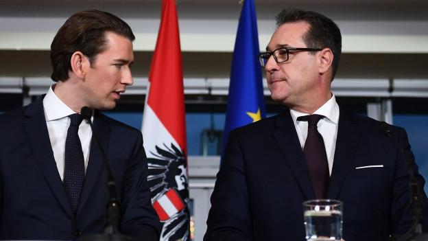 Österreichs neue Regierung: Bundeskanzler Sebastian Kurz (l.) und sein Vize Heinz-Christian Strache.