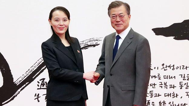 Südkoreas Präsident und die Schwester von Nordkoreas Machthaber