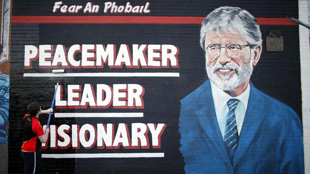 Mauerzeichnung von Gerry Adams