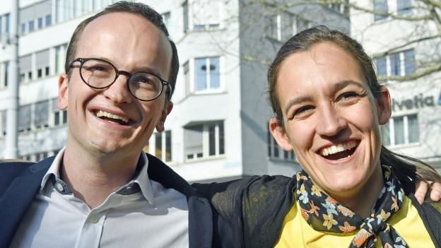 Strahlende Gesichter nach dem Wahlsieg in Zürich.
