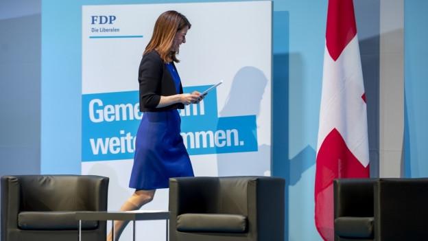 Parteipräsidentin Petra Gössi an der DV in Flawil