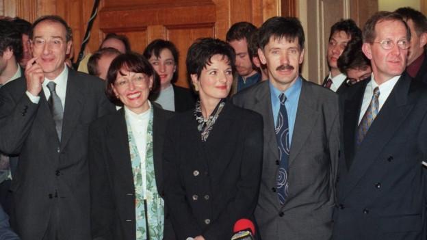 Bundesratsersatzwahl 1999: Die Kandidatinnen und Kandidaten der CVP: Remigio Ratti, Rita Roos, Ruth Metzler, Adalbert Durrer und Joseph Deiss.