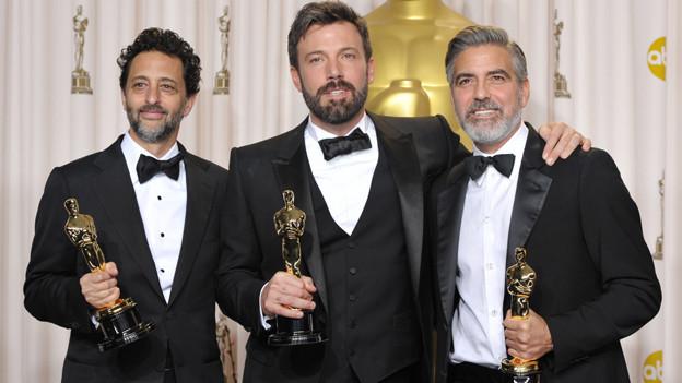 Drei Oscar-Gewinner mit Bart: Grant Heslov, Ben Affleck und George Clooney (v.l.)