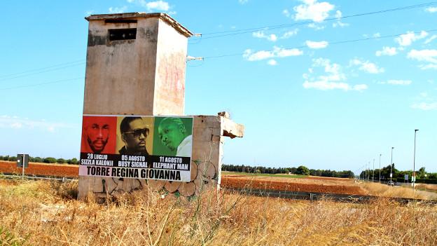 Die grossen Namen aus Jamaika treten im Juli und August im Süden Italiens auf: Plakatwand in Brindisi.
