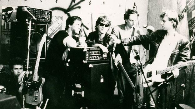 Züri West bei der ersten Band-Foto-Session.