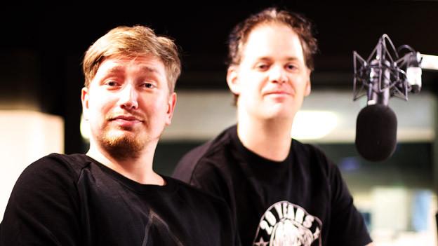 Rckstr-Chefredaktor Schimun Krausz mit Autor Pat Wydler im Studio