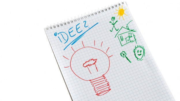 Notizblatt mit einer Ideen-Skizze