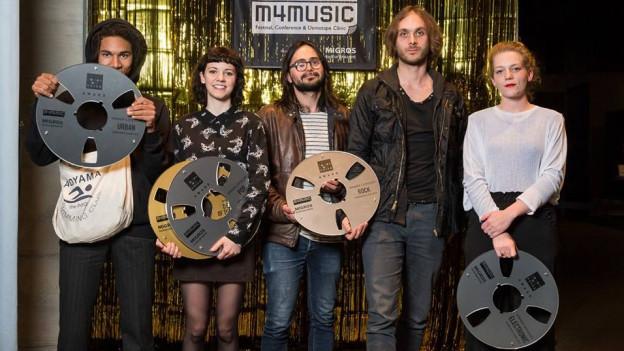Die Gewinner des Nachwuchs-Wettbewerbs «Demotape Clinic» am m4music-Festival