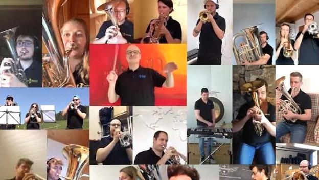 Die Brass Band Berner Oberland zeigt, wie man trotz «Social distancing» gemeinsam ein Video produzieren kann.
