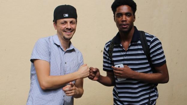 Der Schweizer-Reggae-Star Phenomden (links) mit Dalton Harris in Kingston, Jamaika.