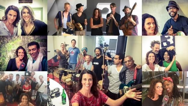 Selfie-Party mit den vielen Interview-Gästen im World Music Special bei Rahel Giger.
