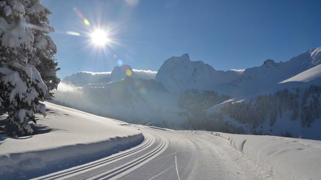 Mittwoch, 13. Februar 2013, 9.30 Uhr: Die Gantrisch-Sonne erwartet die Gäste.